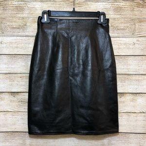 VINTAGE Vakko Black Leather Pencil Skirt